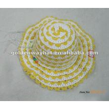 Gorras amarillas hechas punto del verano del bebé