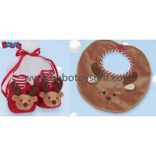 Plush Reindeer Baby Booties e Bib Gift Set Bows1111