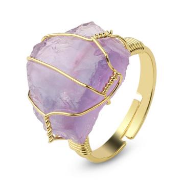 Irregular Natural Stone Copper Wire Winding Amethyst Quartz Carnelian Crystal Rings