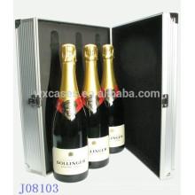 caja de aluminio vino de alta calidad para 3 botellas de la fábrica China de ventas por mayor