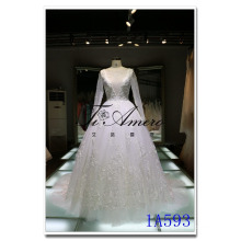 2016 Long Sleeve illusion Deep V-neck Lace Appliqued Bridal Gown