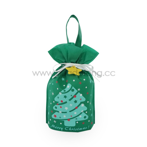 Vlies Blue Christmas Tree Handle Drawstring Geschenktüten