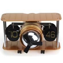 Relógio de aleta antigo da tabela da forma do relógio de parede