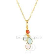 Colorful Multi Gemstones Sterling Silver Necklaces, Gemstone Charms Silver Necklace