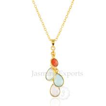 Красочные Мульти Драгоценных Камней Стерлингового Серебра Ожерелья, Драгоценный Камень Подвески Серебряные Колье