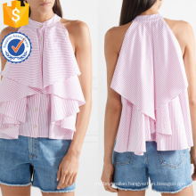Ruffled White And Pink Striped Cotton Sleeveless Summer Top Manufacture Wholesale Fashion Women Apparel (TA0092T)