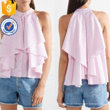 Ruffled Branco E Rosa Listrado Algodão Sem Mangas Verão Top Fabricação Atacado Moda Feminina Vestuário (TA0092T)