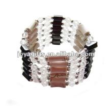 """Pérolas de vidro branco magnético wrap pulseiras & colar 36 """""""