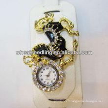 Vogue oversize Leather Rhinestone Bangle Watches With Horse Design WW69
