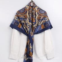 Comfortable Fabric New Design Cashew Print Ladies Silk Shawl Square Big Size Scarf