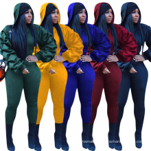 C7187 Latest Women Winter Pullover Clothes Puff Sleeve Blouses Outfits 2 Piece Joggers Sportswear Tracksuit Hoodie Set