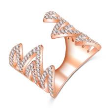 Oro plateado diente de sierra anillo de joyería de cristal para las mujeres (cri1038)