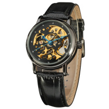winner diamond master skeleton dial watch with genuine leather band