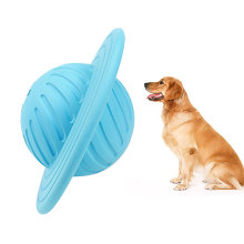 2019 New Design Multi-function Rubber Pet Chew Puzzle Toy UFO Shape Rolling Leakage Food Ball