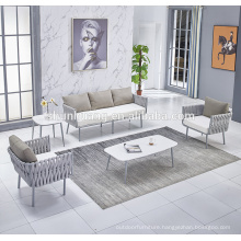 Good price outdoor balcony rope sofa set all hand-made webbing furniture with marble table