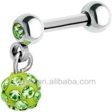 El cristal cuelga el anillo barato de la bola del disco del perno prisionero del pendiente del cartílago