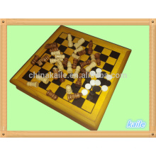 Conjunto de 5 em 1 conjunto de jogo de xadrez multi atacado em caixa de madeira