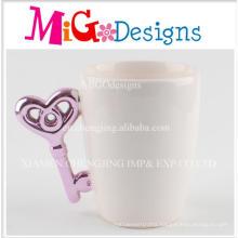 Purple Handle Key Shape White Ceramic Coffee Cup