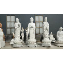 Custom oriental giant Guan yin and large white marble buddha sculpture for decor