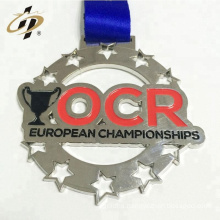 2018 Custom embossed logo antique silver metal sports award medals