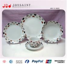 Taza y platillo de la placa de la vajilla de la porcelana de la etiqueta 14PCS