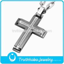 Cruce con la Biblia Colgante de joyería religiosa Colgante de cruces de acero inoxidable Colgante de cruz al por mayor para hombre