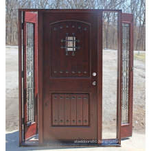 Exterior Knotty Alder Wood Door with Wrought Iron and Side Lite