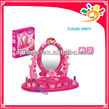 Girls Plastic Pretend Dresser Fancy Beauty Makeup Play Set Toys With Light And Music