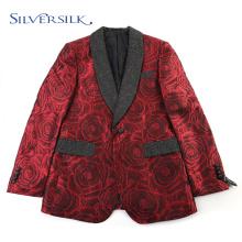 Jaquetas com padrão jacquard personalizado xale Blazers masculinos florais