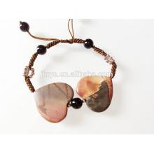 Bracelet coeur fait main coeur 2 pierres précieuses
