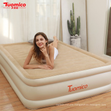 SUNGOOLE Double Airbed Mattress, Flocking Cover PVC Inflatable Air Bed Indoor
