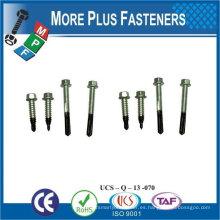 "Taiwán 1/4 ""-20 x 1"" Hex Unslotted Drive Hex lavadora cabeza final # 3 punto Bi-Metal autoperforación de tornillo"