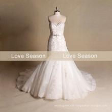 MRY069 Real strapless lace designer wedding dress lavish mermaid wedding dress detachable sash natural waist tulle wedding dress
