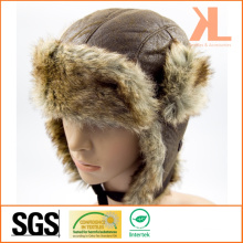 100% Polyester Artificial Fur Ushanka Winter Hat with Ear Flap