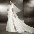 Fit and Flare Train Satin Short Sleeve Wedding Dress