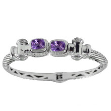 Beautiful Purple Amethyst Gemstone & 925 Sterling Silver Antique Style Round Bangle