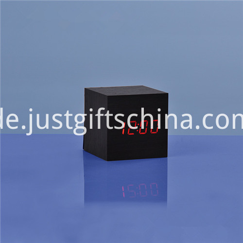 Promotional LED Wooden Square Desk Clock 5