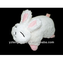 lovely and cute rabbit shaped folding plush pillow toy