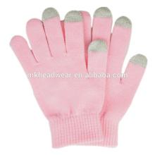 Gants chauds à l'hiver bon marché, Gants tricotés simples pour écran tactile, Gants magiques personnalisés à écran tactile