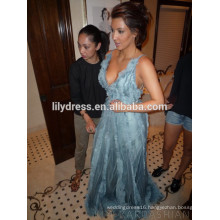 Deep V Neck Light Blue Floor Length Custom Made Red Carpet Celebration Dresses KD026 Prom Dress kim kardashian