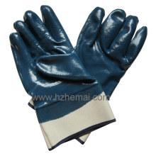 Gants enroulés entièrement à base de nitrile Gant de travail industriel de sécurité