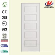 28 polegadas x 80 polegadas Solidoor Riverside Smooth 5 Painéis Igual Solid Core Primed Composto Single Prehung Porta Interior