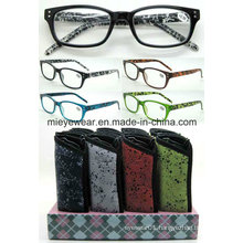 Plastic Paper Transfer Reading Glasses with Pouch (MRP21651)