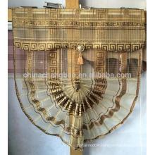 Gold sheer fan-shaped curtain styles roman blind curtain for dubai
