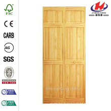 24 in. x 80 in. 24 in. Clear 6-Panel Solid Core Unfinished Wood Interior Closet Bi-fold Door