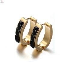 Round black stud earrings for women,gold circle diamond earrings