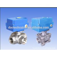 AC110V-230V 1/2 '' Edelstahl 3-Way motorisierte/Magnetventil Kugelhahn L Typ 4 Leitungen für Wasser, Heizung Solaranlage