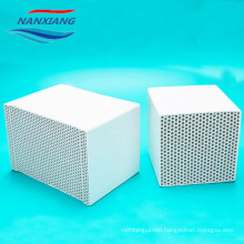 Cordierite ceramic honeycomb monolith heat exchanger for RTO