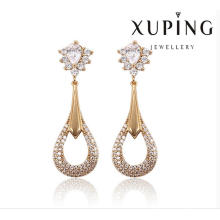 91388 Fashion Elegant CZ Diamant Rond 18k Plaqué Or Bijoux Imitation Boucle d'oreille