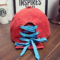 Suede Flat Bill Cap Shoe Lace Closure Hat Rope Backclsoure Cap
